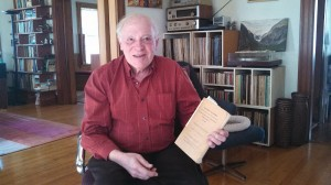 Ellery Schempp holds copy of Supreme Court ruling in his suburban Boston living room. Photo by Linda K. Wertheimer